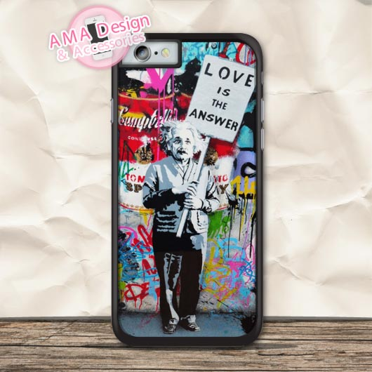 Banksy Albert Einstein Love Is The Answer Protective Case For iPhone X 8 7 6 6s Plus 5 5s SE 5c 4 4s For iPod Touch