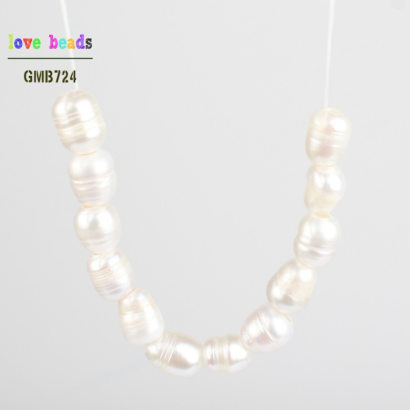 10pcs Natural Big Hole Oval Freshwater Pearl Pearls Beads For Jewelry Making Diy Necklace Bracelet Jewelry 8-9mm*10-11mm Various Styles Beads & Jewelry Making