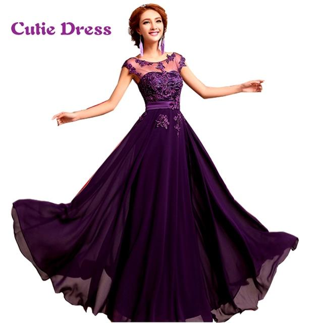 Purple Chiffon A-Line Formal Evening Dresses Long 2016 Vestido De Festa Appliques Pearls Plus Size Abendkleider Evening Gowns