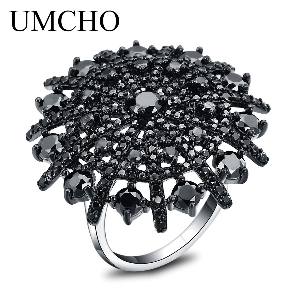 UMCHO Natural Gemstone Natural Black Spinel Ring Solid 925 Sterling Silver Female Cluster Rings For Women Round Jewelry Gift umcho luxury tanzanite rings for women solid 925 sterling silver gemstone engagement ring sets christmas jewelry gift with box
