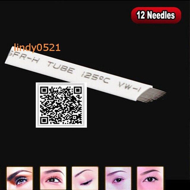 200pcs/lot Professional Permanent Makeup Blade Eyebrow Tattoo Blade 12 Needles For Manual Tattoo Pen