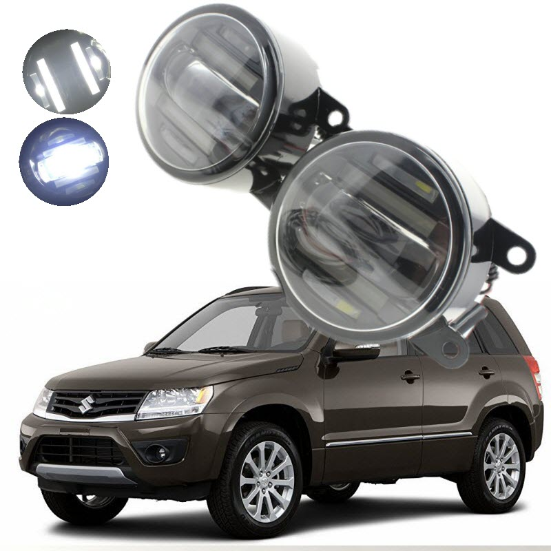 For Suzuki Grand Vitara JT 2005-2016 2in1 18W LED Fog Lights White Cut-Line Lens DRL Daytime Running Lights Car-Styling for opel astra h gtc 2005 15 h11 wiring harness sockets wire connector switch 2 fog lights drl front bumper 5d lens led lamp