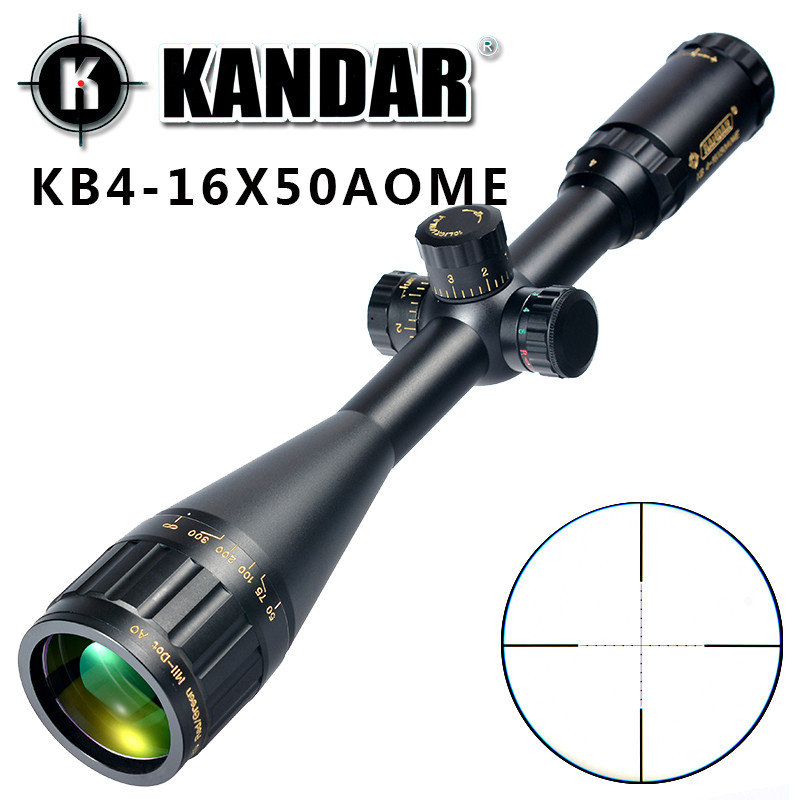 KANDAR Gold Edition 4-16x50 AOME Glass Etched Mil-dot Reticle Locking RifleScope Hunting Rifle Scope Tactical Optical Sight kandar 6 18x56q front tactical riflescope big objective with glass plate riflescope military equipment for hunting scopes