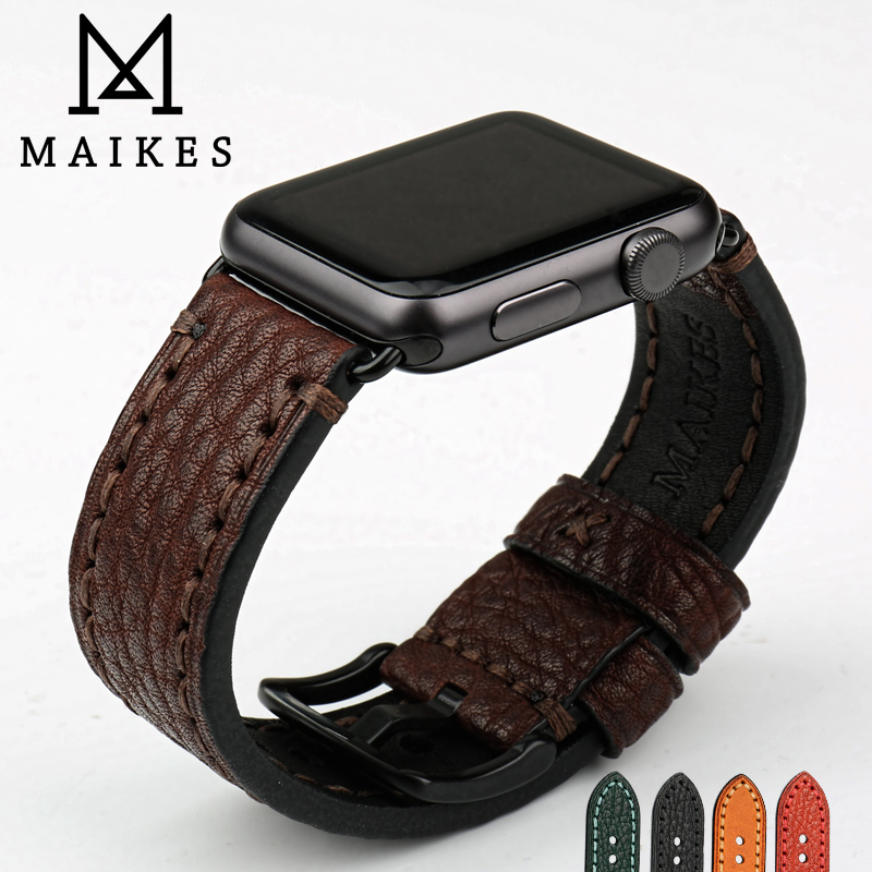 MAIKES Cow Leather Strap With Adapter For Apple Watch Band 42mm 38mm Series 3/2/1 Black iWatch Bracelet Watchband