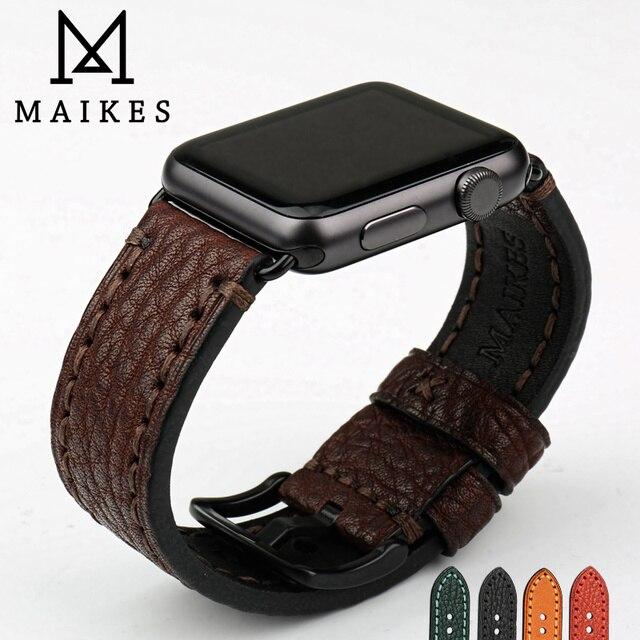 MAIKES wysokiej jakości skóra bydlęca dla Apple Watch Band 42mm 38mm seria 4/3/2/1 czarny pasek iWatch 44mm 40mm bransoletki od zegarków