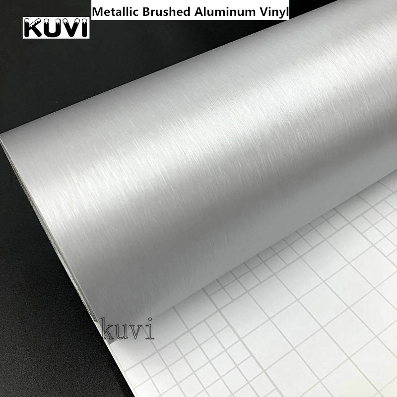 30 cm x 152 cm Auto Styling Silber Metallic Gebürstetem Aluminium Vinyl Matt Gebürstet Auto Wrap Film Aufkleber Aufkleber Mit blase