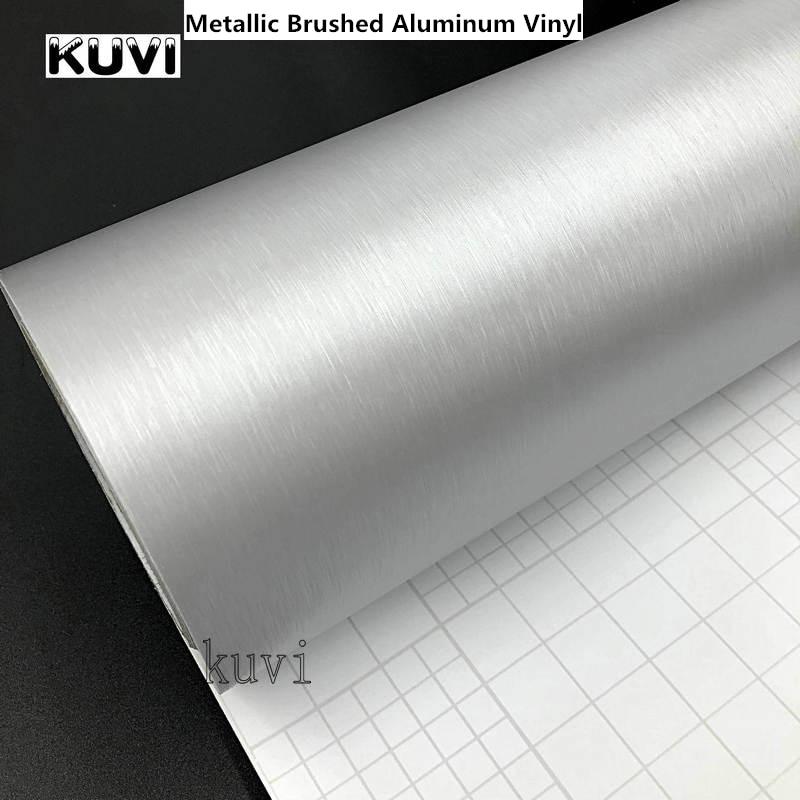 30 cm x 152 cm Car Styling Argento Metallizzato di Alluminio Spazzolata Del Vinile Opaco Spazzolato Car Wrap Film Autoadesivo Della Decalcomania Con bolla