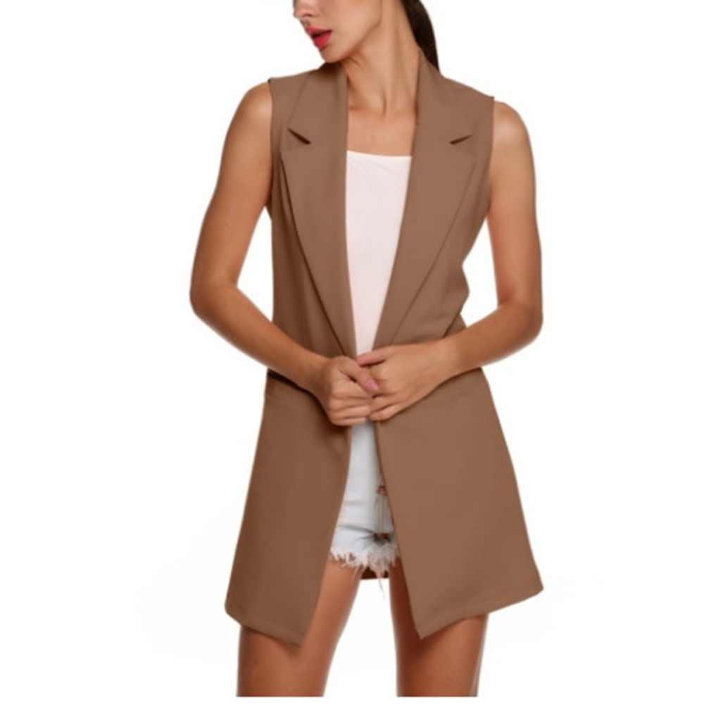 Nouveau femmes tempérament revers sans manches Simple couleur unie Cardigan vestes lâches mince longue gilet 2019