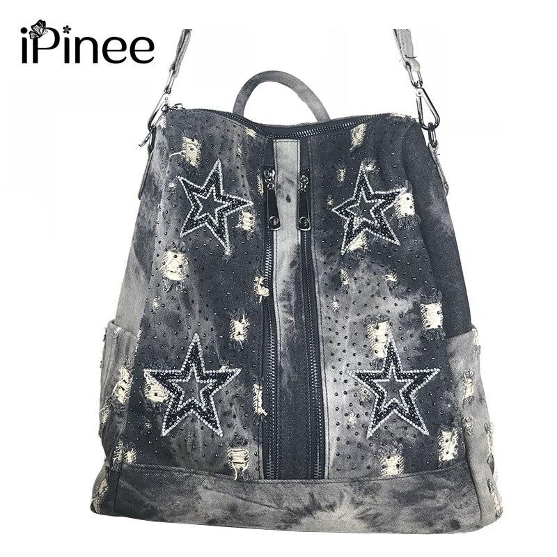 iPinee Backpack Female 2018 Summer New Backpacks For Women Travel Backpack Soft Denim School Bags for