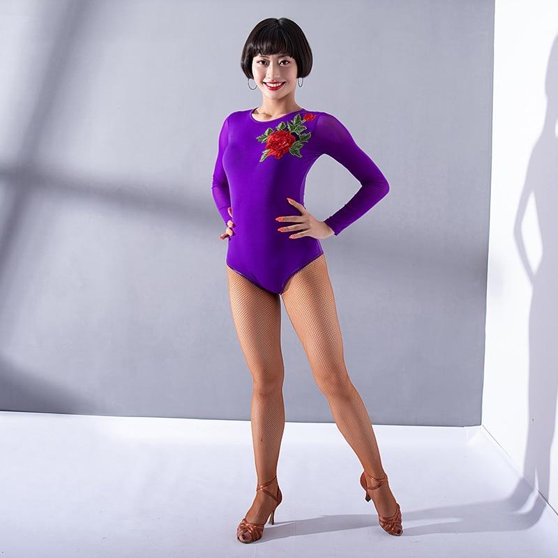 91e56f6aa1 Detail Feedback Questions about Fashion Latin Dance Leotard Tops For Women Sexy  Mesh Long Sleeve Flower Jumpsuit Standard Ballroom Salsa Dancing Shirt ...
