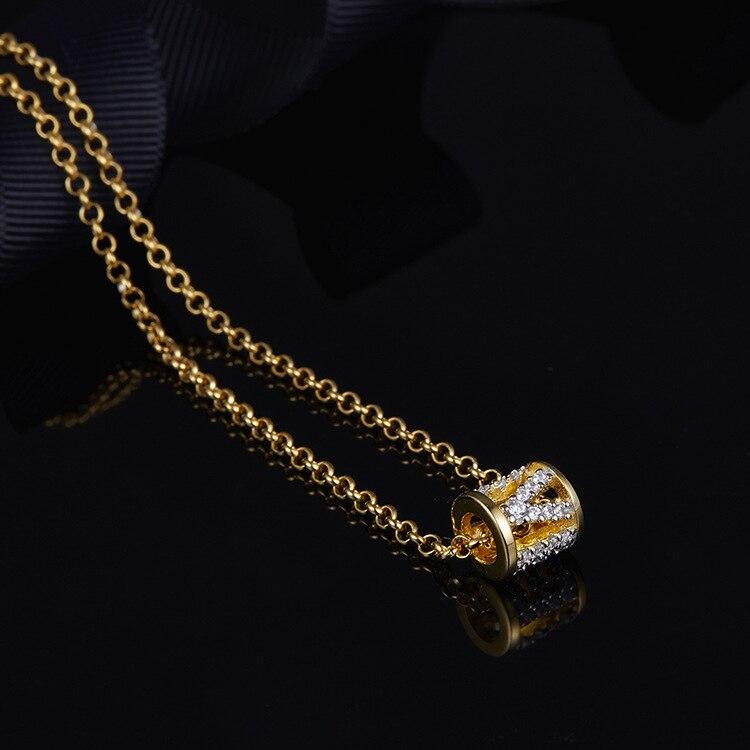 Top qualité 925 bijoux en argent sterling lettre innitial amour collier lettres bébé pendentif couleur or cz pierre choker monaco - 2
