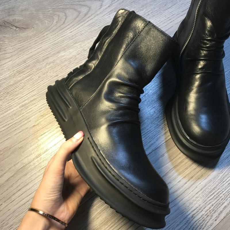 blanc Bout forme Bottes Décontractées Main Vêtement Zipper Plate De Noir Cuir Vintage VéritableHomme Rond Printemps Bottines Chaussures Mixte Luxe Britannique 7Yf6bgy