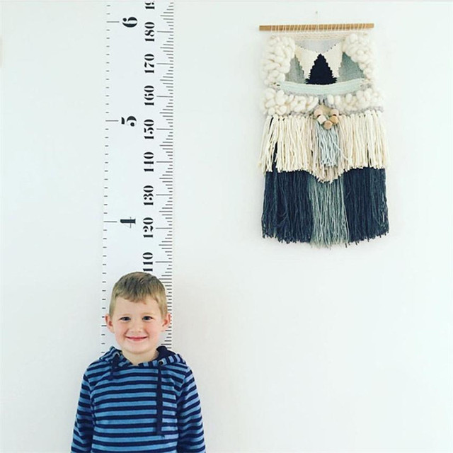 200cm Baby Height Growth Chart Hanging Rulers Kids Room Wall Wood