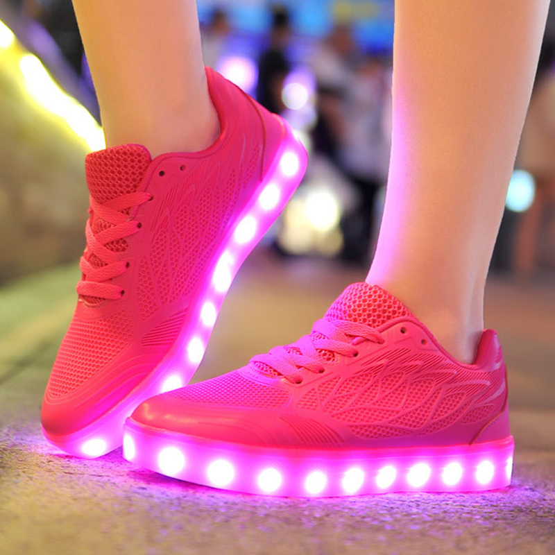 2016 Women Light Up Led Luminous Shoes Recharge For Adults Neon Basket Color Glowing With New Simulation Sole Casual Fashion 2016 new autumn winter man casual shoes sport male leisure chaussure laced up basket shoes for adults black