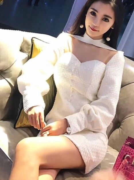 2017 Palais Mince 16774 Femmes Sexy Robe Blanc Dames Rétro Perle Lanterne 5T1JclKuF3
