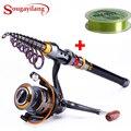 Sougayilang 1,8-3,6 m telescópica caña de pescar y 11BB carrete de pesca rueda portátil de viaje girando caña de pescar combo
