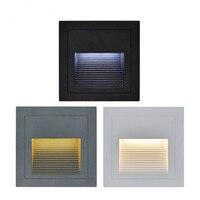 2 pçs/lote indoor/outdoor led passo luzes da escada lâmpadas de parede à prova dwaterproof água 3 w led piso iluminação noturna com 86 caixa montagem|stair light|wall lamp|waterproof wall lamp -