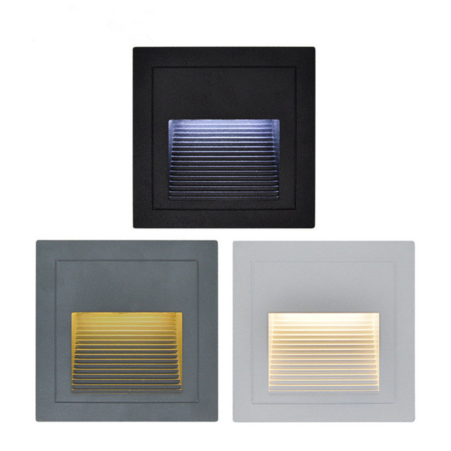 2pcs/lot  Indoor/Outdoor Led step Stair Lights Waterproof Wall Lamps 3W Led Floor Night Lighting with 86 mounting Box