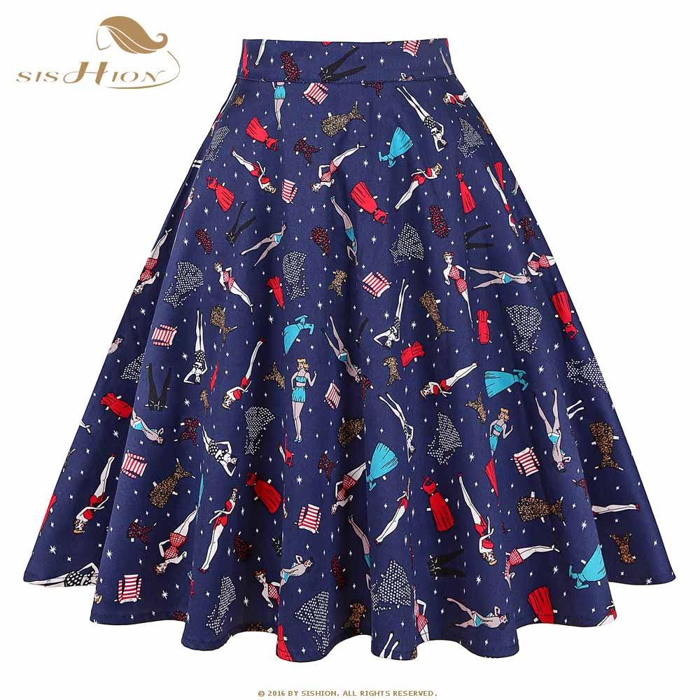 New Summer Black Skirt Women High Waist Plus Size Floral Print Polka Dot Ladies Summer Skirts Skater 50s Vintage Midi Skirt