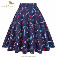 2016 New Fashion Black Skirt Women High Waist Plus Size Floral Print Polka Dot Ladies Summer