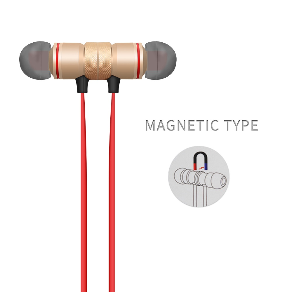 YODELI V4.1 Bluetooth Headset Metal Magnetic Wireless Stereo Earphone Headphones with Mic Sports Earphones Earbud for Sweatproof (2)