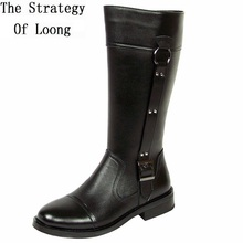 Genuine Leather Men Long Boots 2017 New Winter Knee High Motorcycle Combat Boots Spring Autumn Man Buckle Riding Army Boots(China)