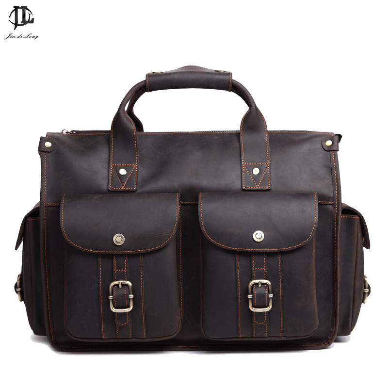 High Quality Vintage Brown Men Genuine Leather Briefcase Crazy Horse Leather Messenger Bag 15.6'' Laptop Bags lexeb brand lawyer briefcase vintage crazy horse leather men laptop bag 15 inches high quality office bags 42cm length brown