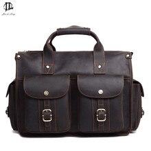 "High Quality Vintage Brown Men Genuine Leather Briefcase Crazy Horse Leather Messenger Bag 15.6"" Laptop Bags"