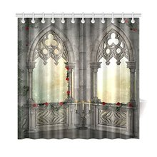 Gothic Decor Vintage Ottoman Palace Balcony for Sultans with Red Rose Flowers Ivy Terrace Fabric Shower Shower Curtain
