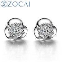 ZOCAI 1 карат Алмазный эффект 0,28 карат алмазные серьги гвоздики круглый CUTJEWELRY ювелирные изделия 18 к белое золото E00285