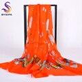 [Bysifa] orange vermelho borboleta das senhoras cachecóis wraps impresso acessórios de moda 100% de seda pura xale cachecol para a primavera outono