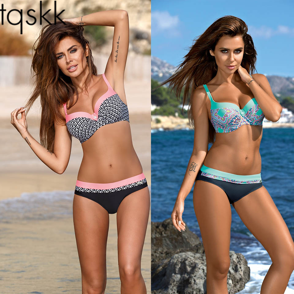 TQSKK Push Up Bikini Set Swimwear Women Swimsuit Female Summer New Sexy 2019 Bikinis Solid Beach Swim Wear Bathing Suits Biquini