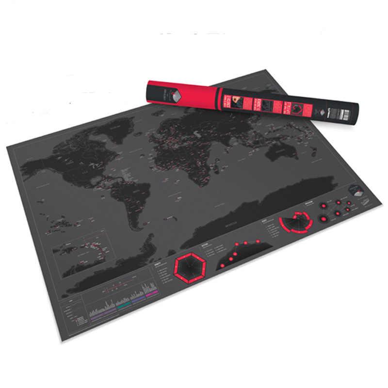 Nuevo mapa para rascar, edición de ciudad, registros de viaje TF, mapa de huellas de viaje del mundo, 59x83 CM, mapa recubierto negro, regalos creativos