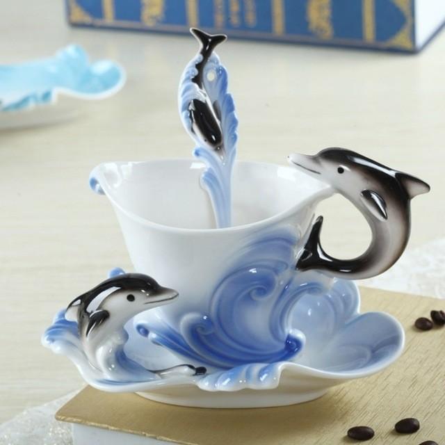 Tasse à Café Porcelaine 420 ml dauphins Tasse Könitz trotters Dauphin Gobelet
