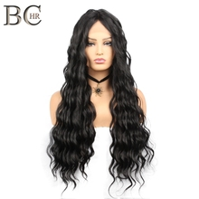BCHR Long Wave 13*4 Synthetic Lace Front Wigs Natural Black Middle Part