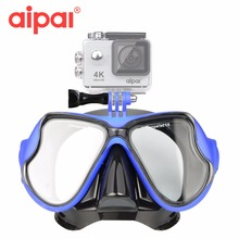 Aipal Underwater Accessories Snorkeling Tempered Glass Diving Goggle Gear Mask Mount For GoPro Hero Xiaomi Yi Action Camera