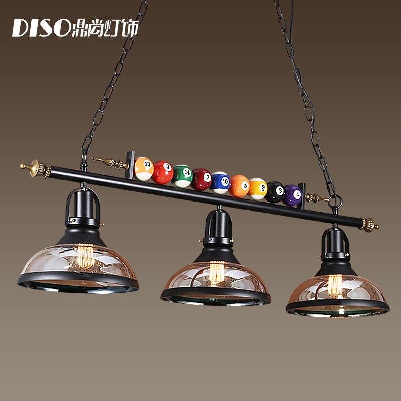 American billiards lamp rural creative personality retro industrial wind glass three heads Loft Restaurant Chandeliers Light E27