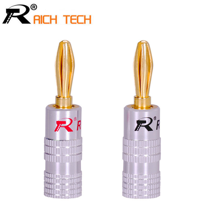 2pcs/1pair RICH TECH Copper BANANA PLUG Gold-plated Banana Connector with Screw Locks For Audio Jack Speaker Plugs Black&Red hot 4pcs copper gold plated tuning fork banana y spade plug adapter av audio terminals connectors for speaker cable power