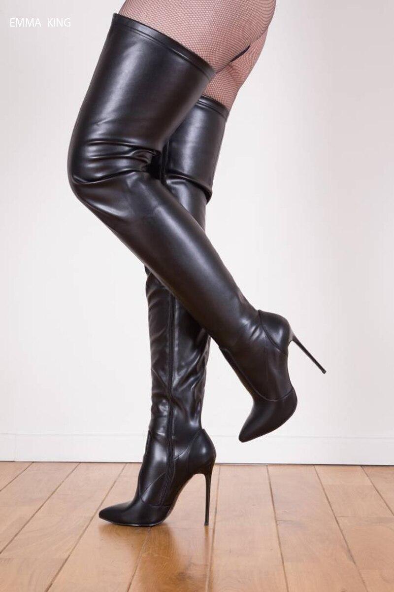Sopra Punta Scarpe Ginocchio Botas Black Coscia Zapatos Mujer A Tacchi  Stivali Alti Donna Lunghe Sexy Sottili ... 469115fa97a