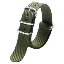 Fashion Cool Army Green 20/22mm Fabric Nylon Canvas Watch Strap Band With 5 Rings For Sport Watches Men Women