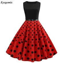 8a1fd355a6 2019 czerwony Polka sukienka w kropki kobiety bez rękawów duża huśtawka 60 s  50 s Rockabilly