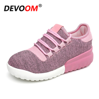 DEVOOM Woman Skate White Shoes Womens Flats Elevator Shoes 2017 Summer Breathable Height Increasing Mesh Casual