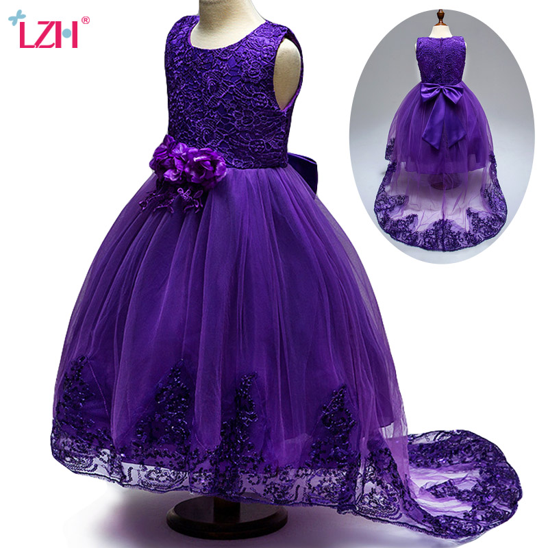 LZH 2018 Summer Children Clothing Girls Floral Lace Princess Dress Kids Wedding Party Dresses For Girls Clothes 7 8 9 10 12 Year new year flowers flower dresses for wedding party baby girls christmas party princess clothing children summer dresses