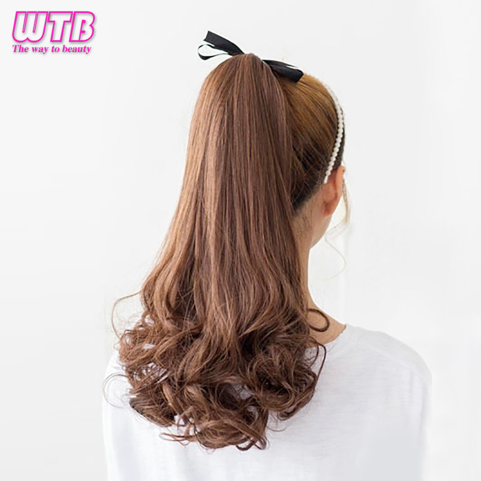 WTB  Long Wavy Ponytail Synthetic Women Claw On Ponytail Clip In Hair Extensions Wavy Style Pony Tail Hairpiece Black