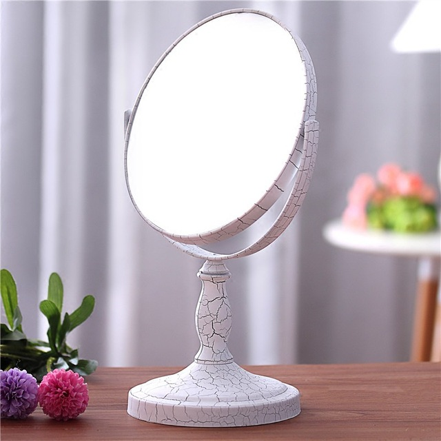 Lujo 8 Pulgadas 3x Ampliación Circular Espejo de Maquillaje Ajustable Dual 2 Cara Mármol textura Forma Redonda Cosmética Espejo de Pie