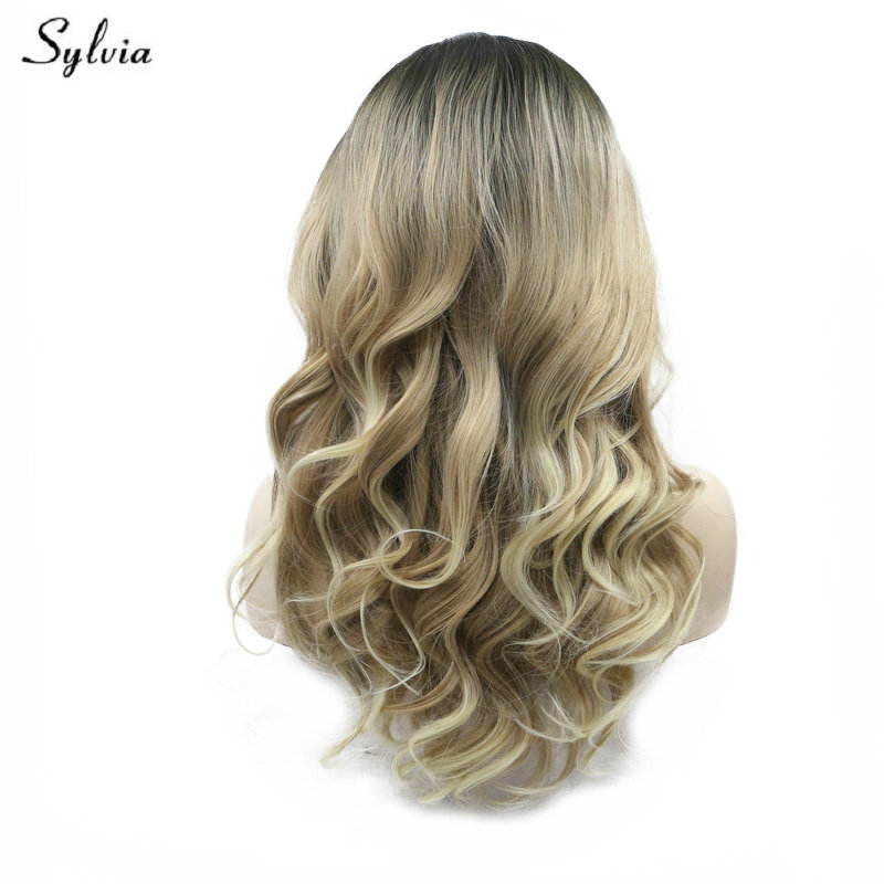Sylvia Natural Hairline Blonde Wavy Wig High Temperature Long Synthetic Hair Handmade Lace Front Wigs Dark Brown Roots to Blonde
