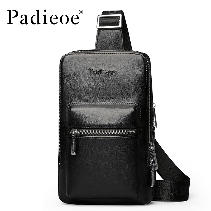 ФОТО Padieoe New Arrival Genuine Cow Leather Men Messenger Bag  Casual Men Crossbody Bag Fashion Crossbody Bags Shoulder bag for Male