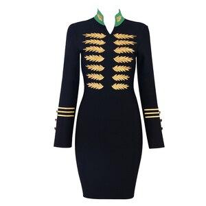Image 4 - Seamyla 2020 yeni kadın bandaj elbise Vestidos moda nakış ünlü parti elbise seksi siyah Bodycon pist kulübü elbiseler