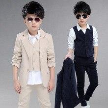 three Pieces Suit Blazer Coat Vest Pants Children Fashion Suit Boy Blazer Sets