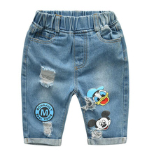 Mickey Denim Boys Pants Short Sleeve T Shirt Clothes Sets